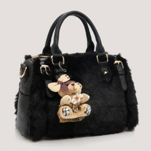 Black Plush Fur Bag - STL Fashion House