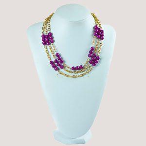 Three Shock Purple Gemstone Bead Necklace - STL Fashion House