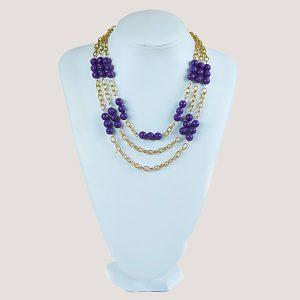 Three Shock Purple Bead Necklace - STL Fashion House