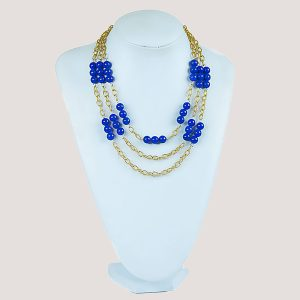 Three Shock Blue Gemstone Bead Necklace - STL Fashion House