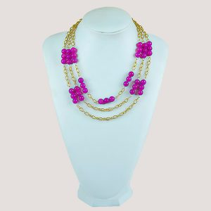 Three Shock Pink Gemstone Beac Necklace - STL Fashion House