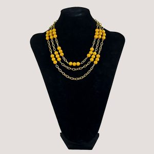 Three Shock Fire Yellow Gemstone Bead Necklace - STL Fashion House