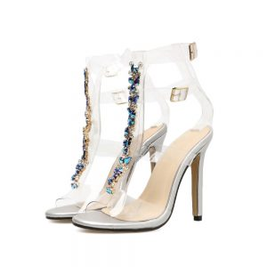 Tamara Transparent PVC Rhinestone High Heels - STL Fashion House