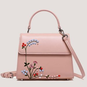 Rivet Embroidered Bag - Pink - STL Fashion House