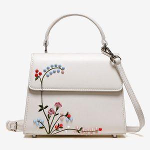 Rivet Embroidered Bag   White - STL Fashion House
