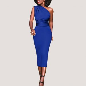 Slinky Asymmetrical Midi Dress