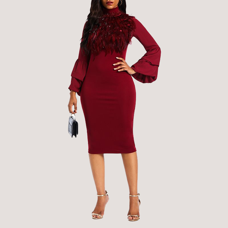 Jojo Fur Detail Dress - Wine   STL Fashion House