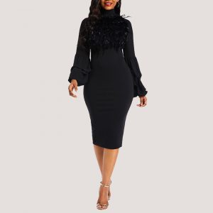 Jojo Fur Detail Dress - Black | STL Fashion House