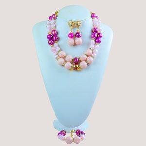 Corels Pink Gemstone Bead Jewelry Set - STL Fashion House