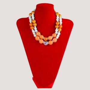 Corels Orange and White Glass Bead Jewelry Set - STL Fashion House