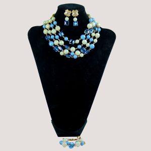 Del Halo Blue Glass Bead Necklace Set - STL Fashion House