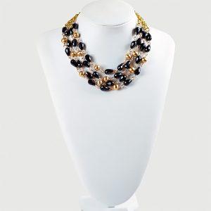 Del Halo Multistrand Black Beaded Chain Necklace - STL Fashion House