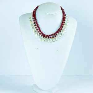 Flammes Burgundy Crystal & Glass Bead Necklace - STL Fashion House