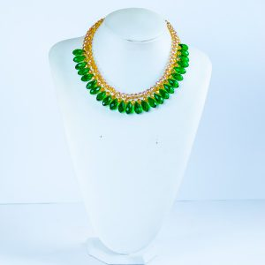 Flammes Green Glass Bead Collar Necklace - STL Fashion House