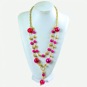 Livon Long Pink Acrylic Bead Necklace - STL Fashion House
