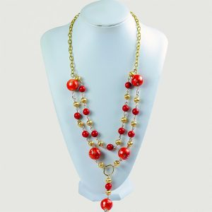 Livon Red Dual-Chain Beaded Necklace - STL Fashion House