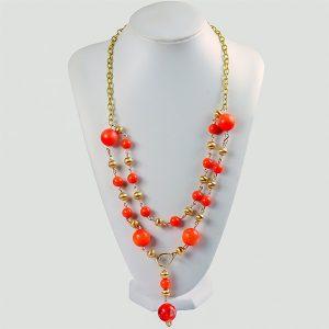 Livon Orange Bead Dual-Chain Costume Jewellery - STL Fashion House