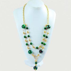 Livon Long Green Acrylic Bead Necklace - STL Fashion House