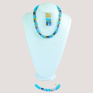 Blue Gemstone Bead Necklace Set
