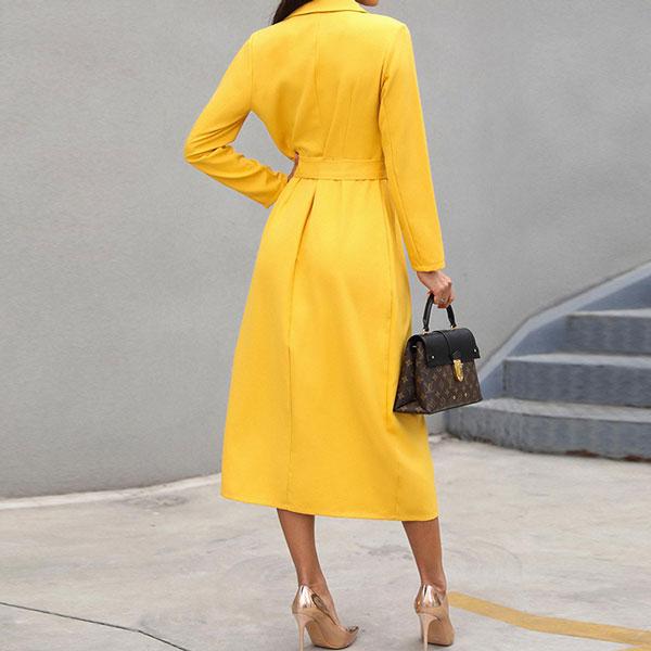 Belted Slit Blazer Dress - STL Fashion House