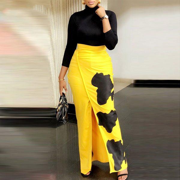 Printed-High-Waist-Slit-Skirt-1