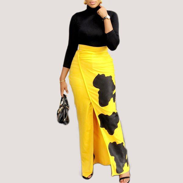Printed-High-Waist-Slit-Skirt-11