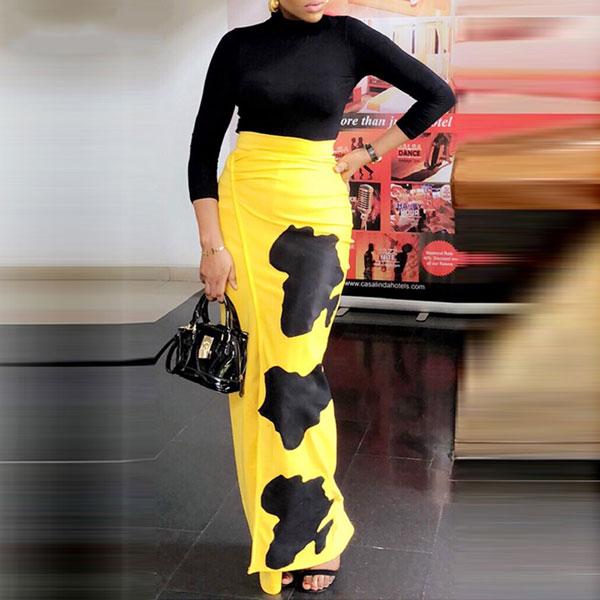 Printed High Waist Slit Skirt - STL Fashion House