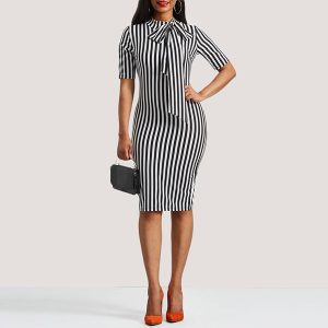 Retro Pin Up Bodycon Office Bowtie Striped Dress - STL Fashion House