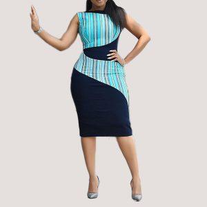 Elegant Sleeveless Blue Bodycon Striped Midi Dress - STL Fashion House