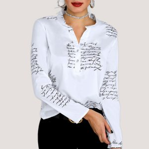 Women Letter Print Shirt | Fashion Design Blouse - STL Fashion House