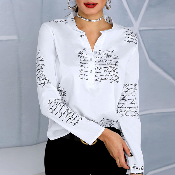 Letter Print Shirt   Fashion Design Blouse - STL Fashion House