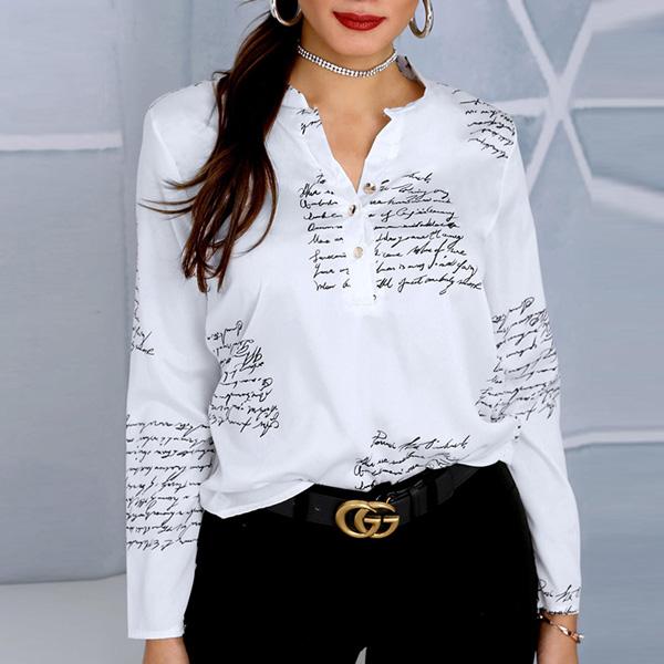 Women Letter Print Shirt - STL Fashion House