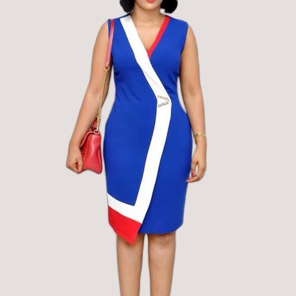 Viena-Colour-Block-Dress-Blue-1