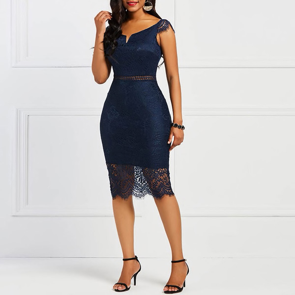 Valencia Lace Dress | Bodycon Cocktail Dress - STL Fashion House