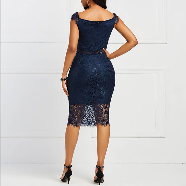 Valencia Lace Dress | Blue Crochet Lace Dress - STL Fashion House