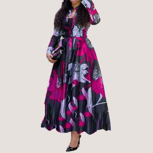 Floral Print Maxi Dress | Purple - STL Fashion House