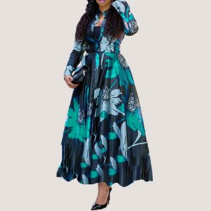 Floral Print Maxi Dress | Green - STL Fashion House