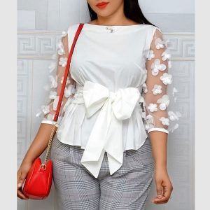 Mesh Sleeve Bow Top - STL Fashion House
