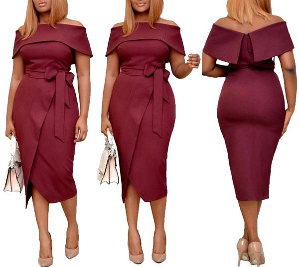 Off-Shoulder Wrap Dress - STL Fashion House