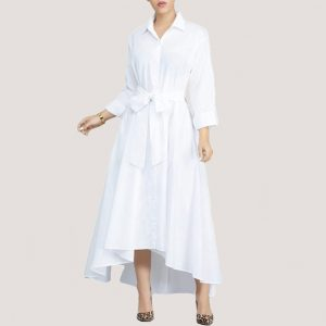 White Turndown Collar A-Line Dress - STL Fashion House