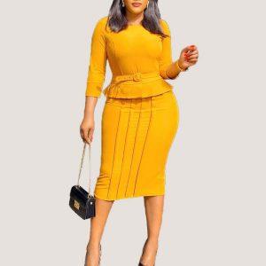 Belted Peplum Dress - STL Fashion House