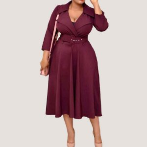 Belted Plain A-Line Dress - STL Fashion House