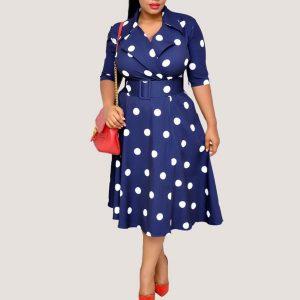 Belted Polka Dot Dress - STL Fashion House
