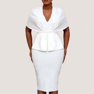 Delia Cape Peplum Dress - STL Fashion House