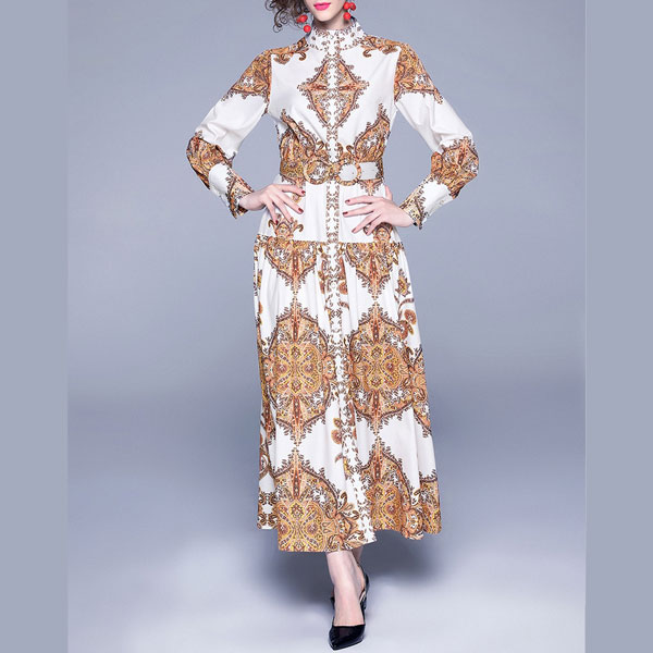 Gold Print Dress (with Belt) - STL Fashion House