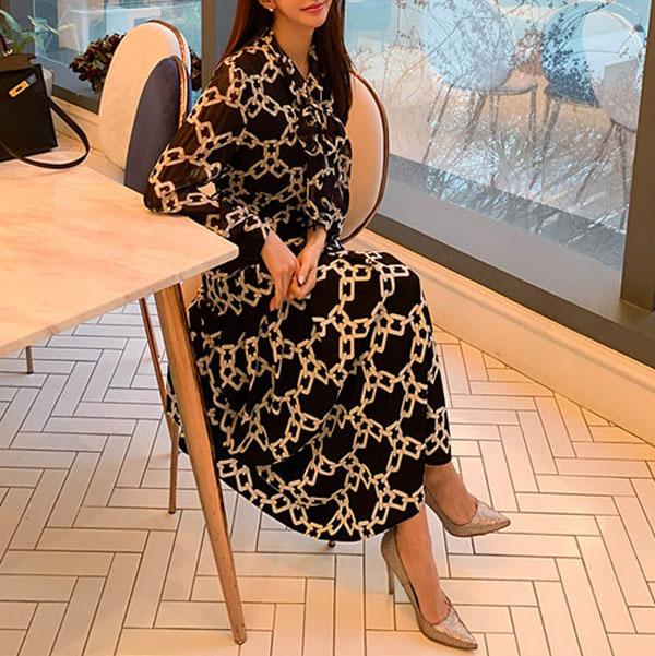 Anna Belted Geo Dress - STL Fashion House