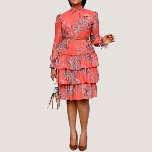 Ruffles Dress with Belt | Red - STL Fashion House
