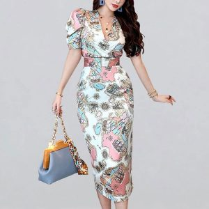 Atlas Print Midi Dress - STL Fashion House