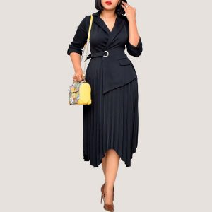 Black Pleated Blazer Dress - STL Fashion House