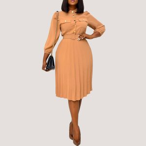 Button Front Belt Dress - STL Fashion House